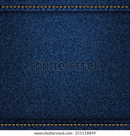 Denim jeans texture with strings and seams.  - stock photo