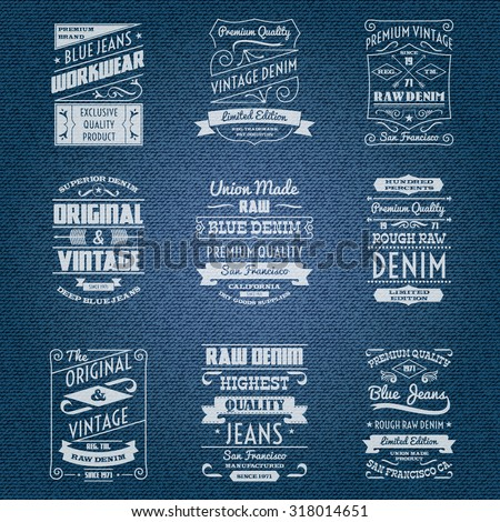 Denim jeans white typography labels set isolated  illustration