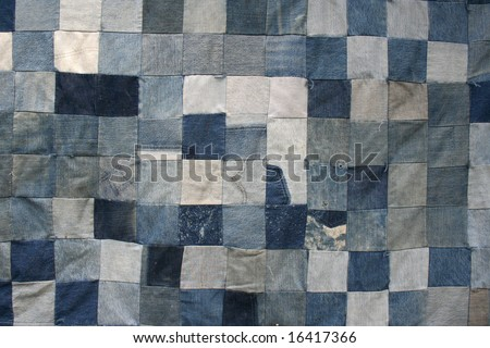 Denim Quilt Texture - stock photo