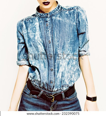 Denim stylish clothes. Glamorous Lady fashion trends - stock photo