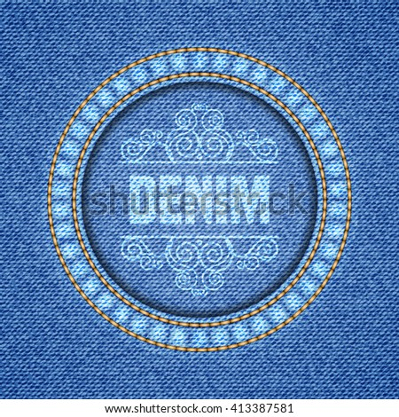 Denim texture background. Realistic denim fabric. Illustration
