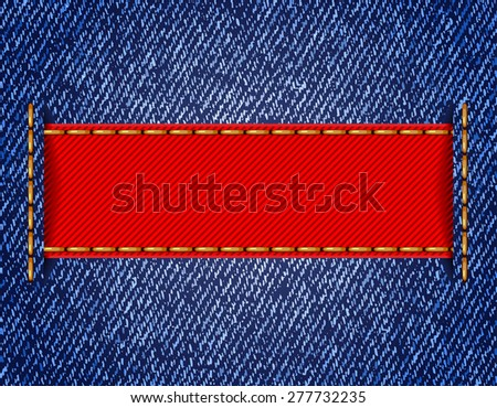 Denim texture with label ribbon. Raster version