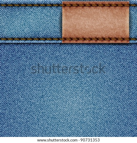 Denim texture with leather label. Raster copy of vector illustration
