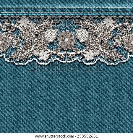 Denim texture with sewn white lace ribbon. - stock photo