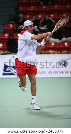 Denis Gremelmayr of the US in the first round of the Qatar Open, Doha, January 2, 2007, where he lost to Ivan Ljubicic.