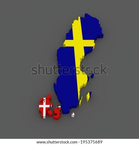 Sweden Finland Map D Stock Illustration Shutterstock - Sweden map 3d