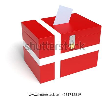 Denmark ballot box with Danish Flag. Isolated on white background. - stock photo