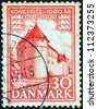 "DENMARK - CIRCA 1953: A stamp printed in Denmark from the ""1.000 years of Danish Kingdom"" issue shows Nyborg Castle, circa 1953. - stock photo"