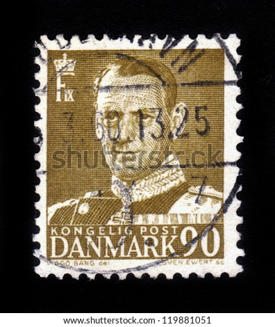 DENMARK-CIRCA 1959 :A stamp printed in Denmark shows image of Frederick IX (Christian Frederik Franz Michael Carl Valdemar Georg), King of Denmark , circa 1959 - stock photo