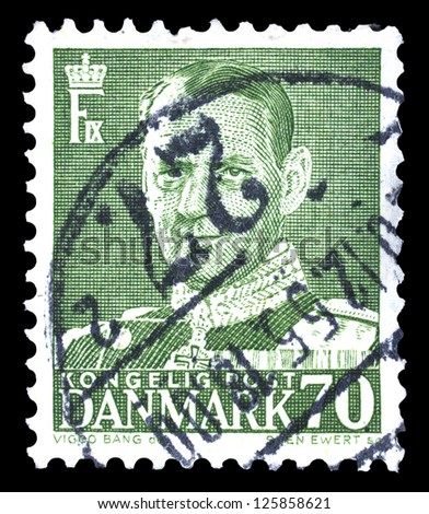"DENMARK-CIRCA 1948: A stamp printed in Denmark, shows portrait of King Frederick IX (Christian Frederik Franz Michael Carl Valdemar Georg), without the inscriptions, series ""Frederick IX"", circa 1948 - stock photo"