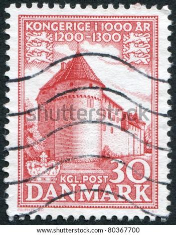 DENMARK - CIRCA 1954: A stamp printed in the Denmark, shows Castle Nyborg, circa 1954 - stock photo