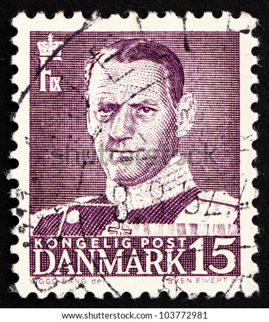 DENMARK - CIRCA 1950: a stamp printed in the Denmark shows King Frederik IX, King of Denmark, circa 1950