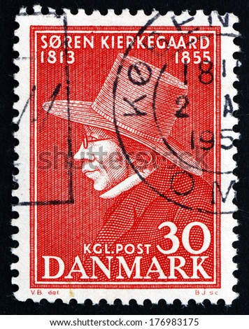 DENMARK - CIRCA 1955: a stamp printed in the Denmark shows Soren Kierkegaard, Philosopher and Theologian, circa 1955