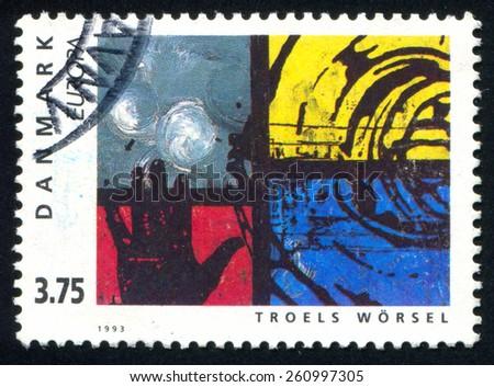 DENMARK - CIRCA 1993: stamp printed by Denmark, shows abstraction art, circa 1993 - stock photo