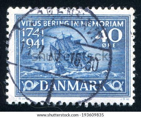 DENMARK - CIRCA 1941: stamp printed by Denmark, shows Bering Ship, circa 1941 - stock photo