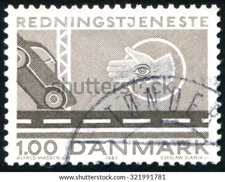 DENMARK - CIRCA 1983: stamp printed by Denmark, shows Car crash, police, circa 1983 - stock photo