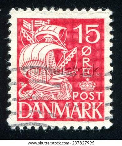 DENMARK - CIRCA 1927: stamp printed by Denmark, shows Caravel, circa 1927 - stock photo