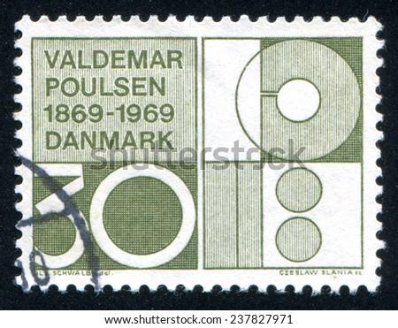 DENMARK - CIRCA 1969: stamp printed by Denmark, shows Symbolic Design, circa 1969 - stock photo
