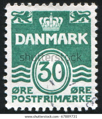 DENMARK - CIRCA 1933: stamp printed by Denmark, shows three wavy and symbol, circa 1933