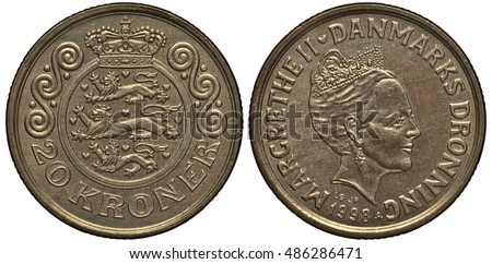 Denmark, Danish coin twenty krona 1998, circular shield with lions, wavy ornaments at sides, crown on top, Queen Margrete II head right,