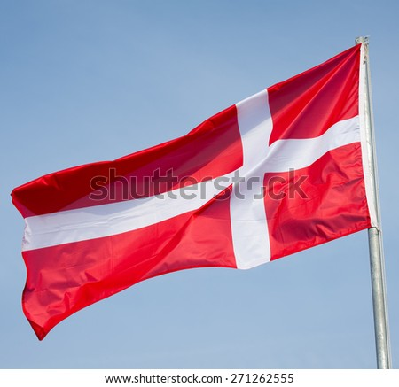 Denmark Flag - Flag of Denmark - Danish Flag - stock photo