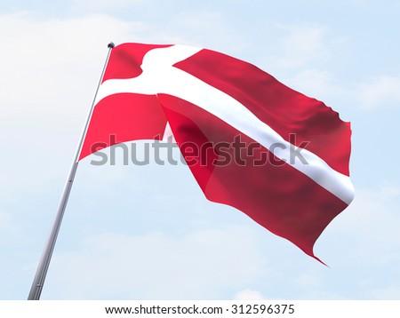 Denmark flag flying on clear sky. - stock photo