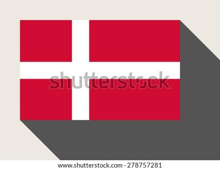 Denmark flag in flat web design style. - stock photo