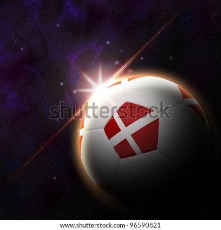 Denmark flag on 3d football with rising sun illustration for Euro 2012 Group B - stock photo