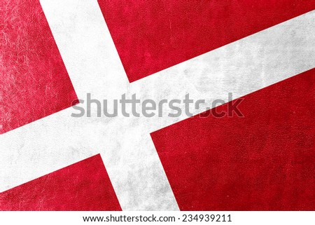 Denmark Flag painted on leather texture - stock photo