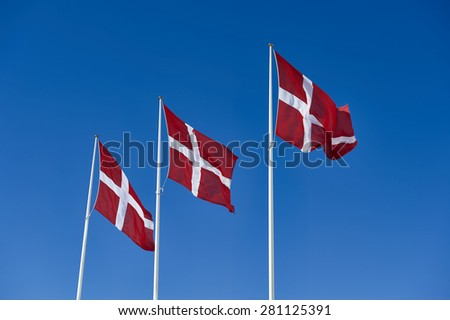 Denmark flags - stock photo