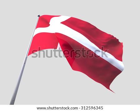 Denmark flying flag isolate on white background. - stock photo