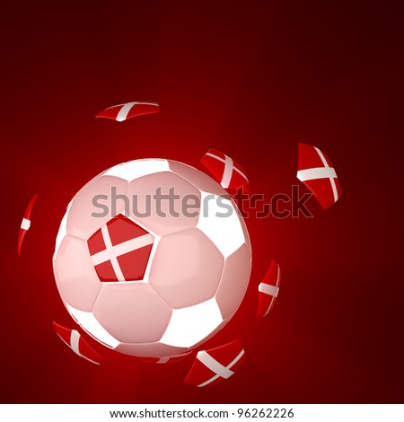 Denmark glag on 3d Football for Euro 2012 Group B - stock photo