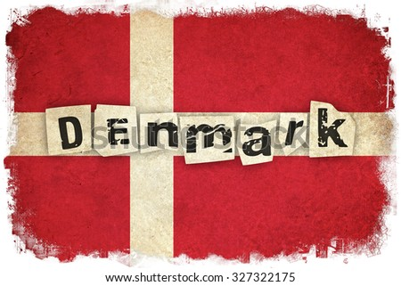 Denmark grunge flag background illustration of european country with text - stock photo