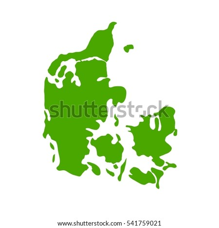 Denmark Map on a White Background