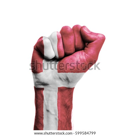 Denmark national flag painted onto a male clenched fist. Strength, Power, Protest concept