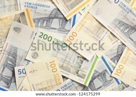 Denmark's banknotes, in different denominations - stock photo