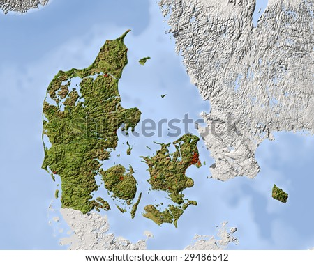 Denmark. Shaded relief map. Surrounding territory greyed out. Colored according to vegetation. Includes clip path for the state area. - stock photo