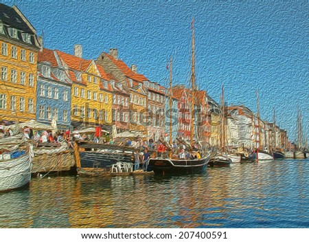denmark ships and house oil painting - stock photo