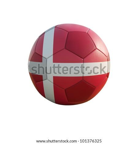 denmark soccer ball isolated on white - stock photo