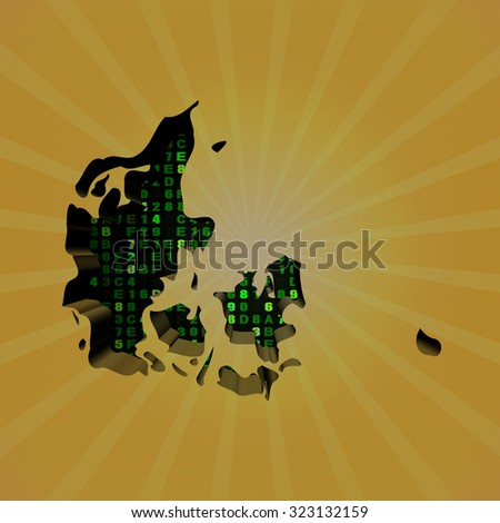 Denmark sunburst map with hex code illustration - stock photo