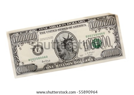 Denomination in one million dollars on a table. - stock photo