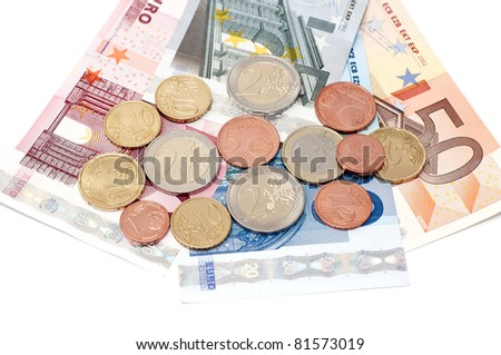 Denominations and coins on a white background.