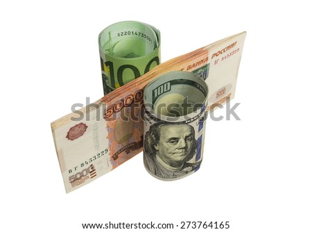 Denominations of 100 euros, 100 dollars and 5,000 rubles laid as a percentage. Image isolated. - stock photo
