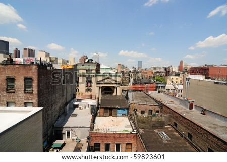 dense buildings in new york city - stock photo