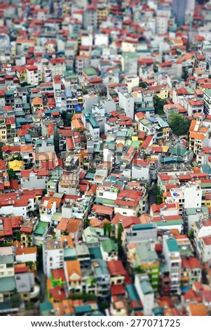 Dense buildings of Hanoi, Vietnam (Tilt-Shift Effect) - stock photo