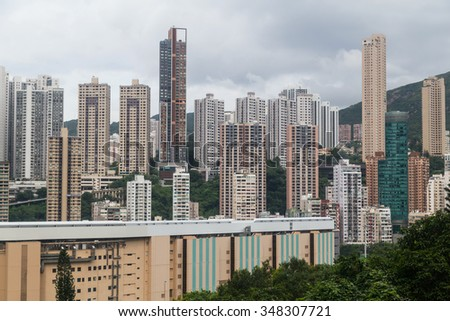 Dense high rise buildings of Hong Kong - stock photo