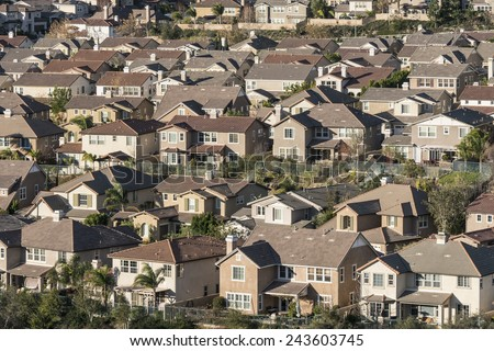 Dense large suburban hillside homes in Simi Valley near Los Angeles, California. - stock photo