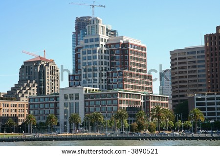 Dense Skyline Near the Pacific Ocean - stock photo