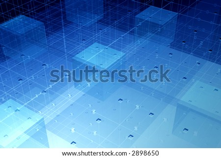 Dense transparent optical fibre connections in glass geometric environment - rendered hitech background - stock photo