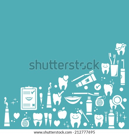 Dental care background with symbols - stock photo